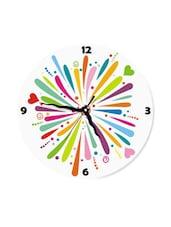 Rainbow Fun Colour Burst Splash Wall Clock With Hearts - Krayons