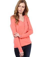 Solid Peach Full Sleeved Top - By