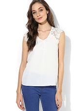 White Laced Sleeveless Top - By