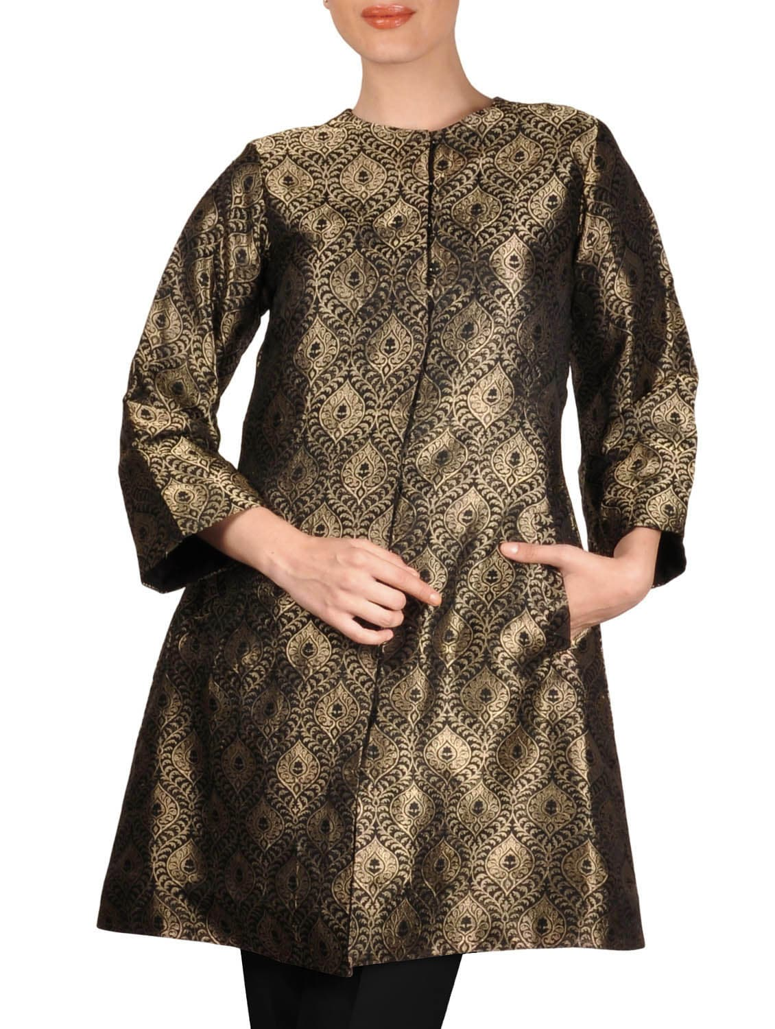 Buy online Black And Gold Pure Brocade Silk Jacket from jackets and blazers  and coats for Women by Talkingthreads for ₹11900 at 0% off   2021  Limeroad.com