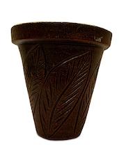 Dark Brown Painted Terracotta Planter - By