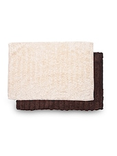 Set Of 2 Brown And Cream Rectangular Ribbed Cotton Doormats - By