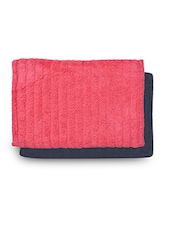 Set Of 2 Navy And Pink Rectangular Ribbed Cotton Doormats - By