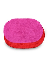 Set Of 2 Pink And Red Oval Cotton Doormats - By