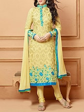 Yellow Color Georgette Semi Stitched  Dress Material - By