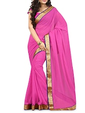 Magenta Chiffon Saree With Gold Border - By