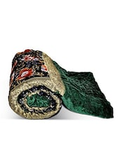 Green Floral Printed Velvet Cotton Single Bed Quilt - By