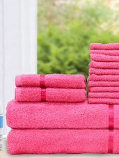 Set Of 14 Solid Pink Cotton Towels - By