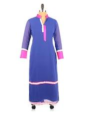 Blue Georgette Full Sleeved Long Kurta - Fashion 205