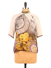 Vintage Floral Print Quarter Sleeves Top - Fashion 205