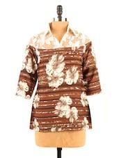 Printed American Crepe Shirt Collar Top - Fashion 205