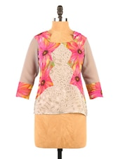 Floral Print Georgette Grey And Pink Top - Fashion 205