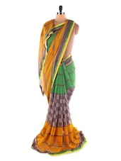 Yellow Printed Georgette Saree - Saraswati