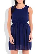 Navy Blue Poly Georgette Dress - By