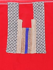 Red Chanderi Cotton Straight Cut Salwar Suit. - Viva N Diva