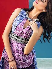 Purple And White Printed Unstitched Cotton Kurta - By