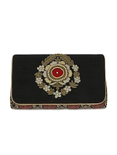 Black And Maroon Embellished Brocade Clutch - By