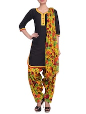 Black Printed Stitched Cotton Patiala Suit Set - By