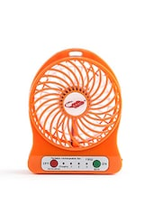 Portable Mini USB Fan Rechargeable Battery Operated With 3 Speed(Orange) - By