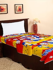 Multicoloured Cartoon Printed Single Bed Top Sheet - By