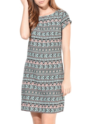 multicolored aztec printed dress -  online shopping for Dresses