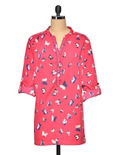 Pink Butterfly Print Polyester Tunic - Oxolloxo