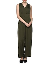 Green  Polyester Jumpsuit - Oxolloxo