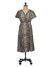 Multicolored Animal Print Polyester Plus Size Dress - Oxolloxo