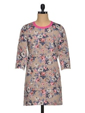 Multicolored  Polyester Floral Tunic - Oxolloxo