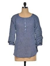 Minimal Tribal Print Cotton Tunic - Oxolloxo