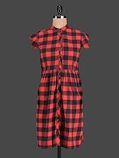 Red & Black Checked Cotton Dress - Aaliya Woman