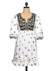 Contrast Floral Print White Ethnic Dress - Aaliya Woman