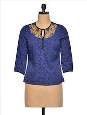 Blue Printed Lace Round Neck Top - Citrine