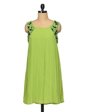 Spring Green Pleated Flare Dress - RENA LOVE