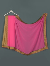 Pink Georegette And Crepe Jaquard And Raw Silk Designer Party Wear Saree - Aakriti