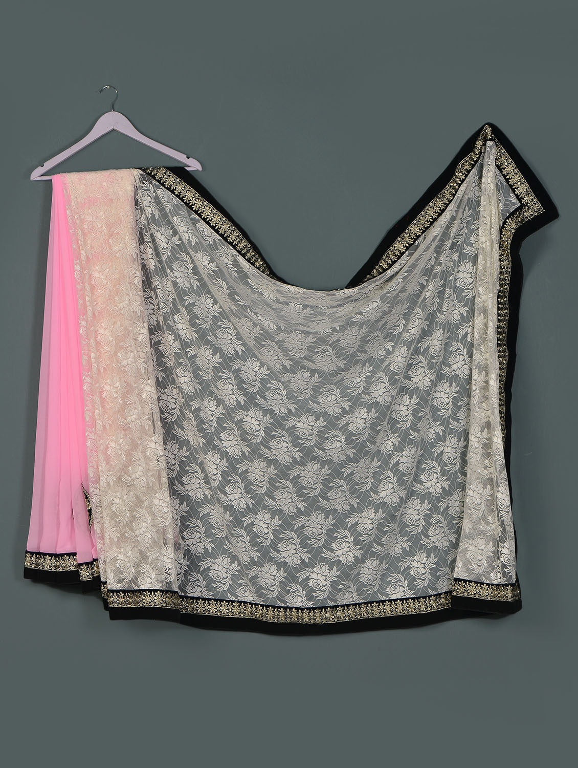Pink Offwhite Lace ,georgette Designer Party Wear Saree - Aakriti