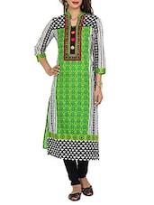 Green Cut And Sew Long Kurta - Aaboli