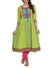 Printed Green Cut And Sew  Cambric Long Kurta - Aaboli