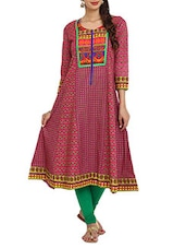 Printed Pink Cut And Sew  Cambric Long Kurta - Aaboli