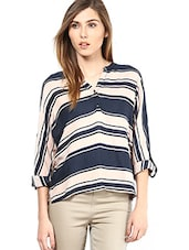 Peach And Navy Blue Striped Full Sleeved Top - By