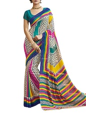 Printed  Chiffon Striped  Multicolored  Saree With Blouse Piece - Aaboli