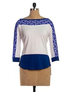 Blue & White Lacy Top - VEA KUPIA