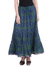 Blue Cotton Bandhej Print Long Skirt - By