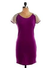 Purple Dress With Lace Sleeves - VEA KUPIA