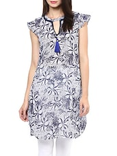 Blue And White Floral Print Georgette Kurta - By