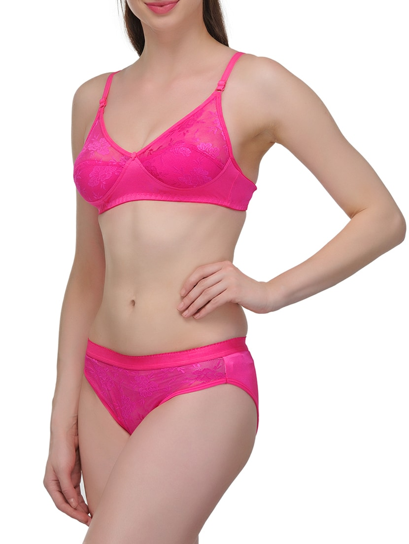 78b6e40c7c38f Buy Pink Lycra Bra And Panty Set by Urbaano - Online shopping for Bras And Panty  Set in India
