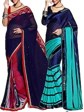 Set Of 2 Dark Blue & Pink, Dark Blue & Turquoise Color Georgette Embroidered  Saree - By