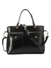 Classy Black Leatherette Handbag - Bags Craze