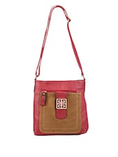 Pink And Brown Sling Bag - Bags Craze