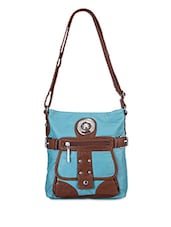 Blue And Brown Sling Satchel - Bags Craze